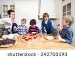 boys and girls decorating... | Shutterstock . vector #242703193