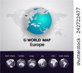 blue europe world map vector... | Shutterstock .eps vector #242722477