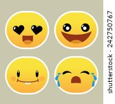 set of yellow emoticons with... | Shutterstock .eps vector #242750767