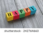 word happy on colorful wooden... | Shutterstock . vector #242764663