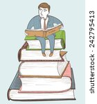 businessman reading on the... | Shutterstock .eps vector #242795413