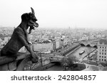 Small photo of Famous chimere of the Notre-Dame cathedral overlooking Paris