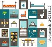 set furniture. vector   Shutterstock .eps vector #242813113