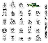 houses set  vector doodle | Shutterstock .eps vector #242830183