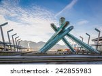 Stock photo olympic cauldron at jack poole plaza vancouver british columbia 242855983