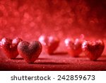 Valentine Hearts On Abstract...