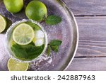 lemonade in glass on tray on... | Shutterstock . vector #242887963