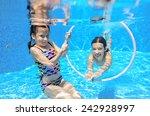 kids swim in pool underwater ... | Shutterstock . vector #242928997