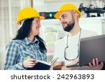 craftsman and craftswoman... | Shutterstock . vector #242963893