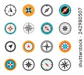 wind rose compass flat symbols... | Shutterstock .eps vector #242980507