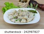 boiled russian dumplings with...   Shutterstock . vector #242987827