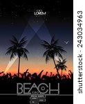 summer beach party vector flyer ... | Shutterstock .eps vector #243034963
