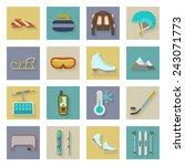 winter sports flat icons set... | Shutterstock .eps vector #243071773
