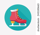 Ice Skate Flat Icon With Long...