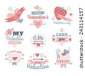 set of happy valentine's day ... | Shutterstock .eps vector #243114157