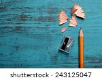 pencil with sharpening shavings ... | Shutterstock . vector #243125047