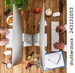 workplace with notebook  office ... | Shutterstock . vector #243131053