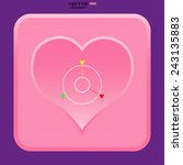 pink button with heart. gps...