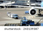 Small photo of AMSTERDAM SCHIPHOL,HOLLAND-November 1, 2014;Loading an airplane with airfreight at Schiphol airport.November 1, 2014, Amsterdam Schiphol, Holland