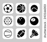 sport balls vector icon set | Shutterstock .eps vector #243166003