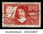 vintage french stamp depicting Rene Descartes a famous mathematician and philosopher dubbed the father of modern philosophy his famous quote is, i think therefore i am - stock photo