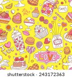 seamless cartoon vector pattern ... | Shutterstock .eps vector #243172363