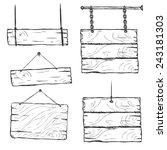 vector set of sketch signboards | Shutterstock .eps vector #243181303