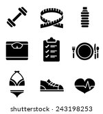 weight loss icons   black