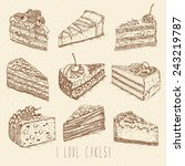 set of cakes in doodle vintage... | Shutterstock .eps vector #243219787