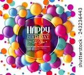 Birthday Card With Multicolore...