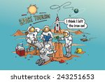 space tourism concept cartoon... | Shutterstock .eps vector #243251653