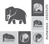 set of elephant icons and...