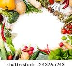 frame of vegetables on a white... | Shutterstock . vector #243265243