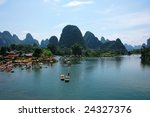 Li River And Mountains  Guilin...
