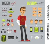 Geek style design character set with backpack computer keyboard web camera isolated vector illustration | Shutterstock vector #243303637