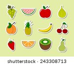 Set Of Fruits Object Stickers....