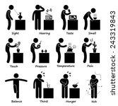 Human Senses Stick Figure...