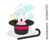 pink rabbit in the magician hat ... | Shutterstock .eps vector #243344707