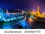 Night View Of Yangon Cityscape...