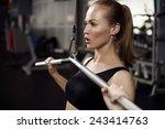 beautiful muscular fit woman... | Shutterstock . vector #243414763