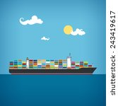 cargo container ship transports ... | Shutterstock .eps vector #243419617
