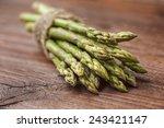 Bunch Of Asparagus Stems On...