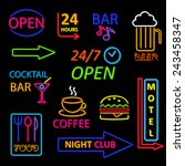 neon icon set | Shutterstock . vector #243458347