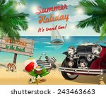 summer tropical poster with... | Shutterstock .eps vector #243463663