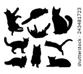 vector silhouettes of cats | Shutterstock .eps vector #243481723