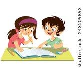 children pupils reading... | Shutterstock .eps vector #243509893