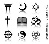 world religion monochrome... | Shutterstock .eps vector #243554713