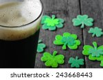 pint of stout beer with green... | Shutterstock . vector #243668443