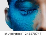Half Beauty Face With Blue...