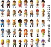 set of vector cute character... | Shutterstock .eps vector #243693223
